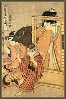 A Woman Watches Two Children, utamaro
