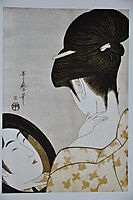 Young woman applying make up, 1796, utamaro