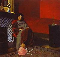 Interior Red Room with Woman and Child, 1899, vallotton