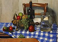 Still Life with Blue Checkered Tablecloth, 1919, vallotton