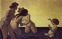 Three Women and a Little Girl Playing in the Water, 1907, vallotton