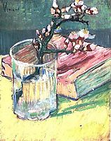 Blossoming Almond Branch in a Glass with a Book, 1888, vangogh