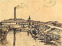 Canal with Bridge and Women Washing, 1888, vangogh