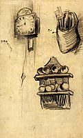 Clock, Clog with Cutlery and a Spoon Rack, 1885, vangogh