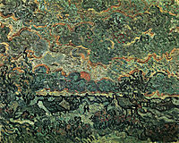 Cottages and Cypresses Reminiscence of the North , 1890, vangogh