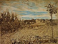 Cottages with a Woman Working in the Foreground, 1890, vangogh