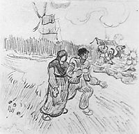 Couple Arm in Arm and Other Figures, with a Windmill in the Background, 1890, vangogh