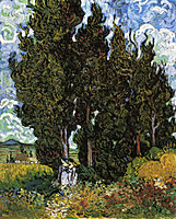 Cypresses with Two Women , 1889, vangogh