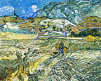 Enclosed Field with Peasant, 1889, vangogh