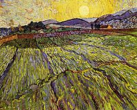 Enclosed field with rising sun, 1889, vangogh
