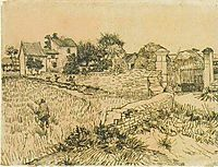 Entrance Gate to a Farm with Haystacks, 1888, vangogh