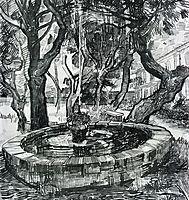 Fountain in the Garden of Saint-Paul Hospital , 1889, vangogh