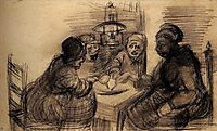 Four People Sharing a Meal, 1885, vangogh
