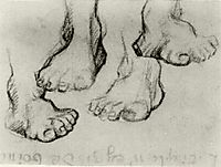 Four Sketches of a Foot, 1886, vangogh