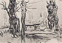 Garden of the Asylum and Tree Trunks and a Stone Bench, 1889, vangogh