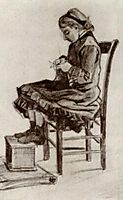 Girl Sitting, Knitting, 1882, vangogh