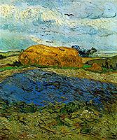 Haystack under a Rainy Sky , 1890, vangogh