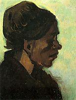 Head of a Brabant Peasant Woman with Dark Cap, 1885, vangogh