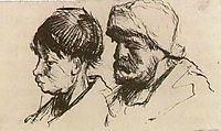 Head of a Girl, Bareheaded, and Head of a Man with Beard and Cap, c.1884, vangogh