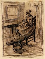 Interior with Peasant Woman Peeling Potatoes, 1885, vangogh