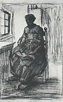Interior with Peasant Woman Sewing, 1885, vangogh