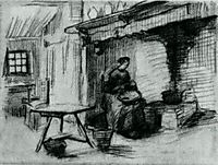 Interior with Peasant Woman Sitting near the Fireplace, 1885, vangogh