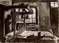 Interior with a Weaver Facing Right, 1883, vangogh
