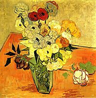 Japanese Vase with Roses and Anemones, 1890, vangogh
