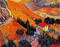 Landscape with House and Ploughman, 1889, vangogh