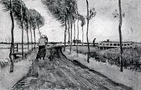 Landscape with Woman Walking, 1883, vangogh