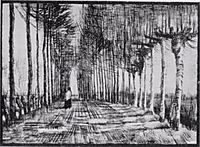 Lane with Trees and One Figure, 1884, vangogh
