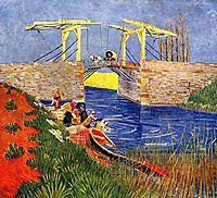 The Langlois Bridge at Arles with Women Washing, 1888, vangogh