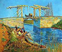 The Langlois Bridge at Arles with Women Washing, 1888, vangogh