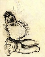 Male Torso and Study for Portrait of a Woman with Flowers, 1887, vangogh
