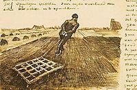 Man pulling a harrow, 1883, vangogh
