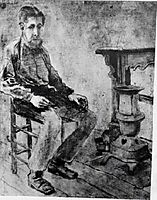 Man Sitting by the Stove The Pauper, 1882, vangogh