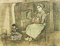 Mother at the Cradle and Child Sitting on the Floor, 1881, vangogh