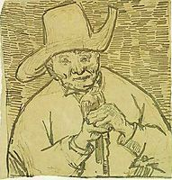 The Old Peasant Patience Escalier with Walking Stick, Half-Figure, 1888, vangogh