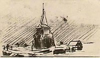 The Old Tower in the Snow, 1885, vangogh