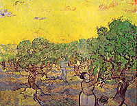 Olive Grove with Picking Figures , 1889, vangogh