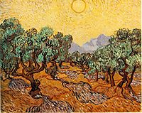 Olive trees with yellow sky and sun, 1889, vangogh