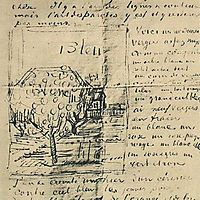 Orchard and House with Orange Roof, 1888, vangogh