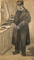 Orphan Man with Long Overcoat Cleaning Boots, 1882, vangogh