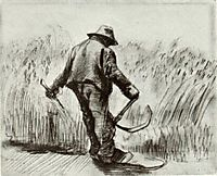 Peasant with Sickle, Seen from the Back, 1885, vangogh