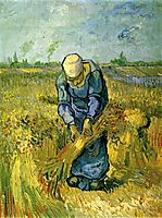 Peasant Woman Binding Sheaves after Millet, 1889, vangogh