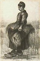 Peasant Woman, Carrying Wheat in Her Apron, 1885, vangogh