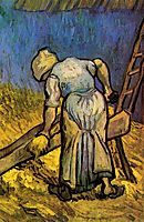 Peasant Woman Cutting Straw after Millet, 1889, vangogh