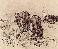 Peasant Woman Digging, 1890, vangogh