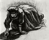 Peasant Woman, Kneeling, Possibly Digging Up Carrots, 1885, vangogh