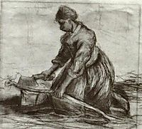 Peasant Woman, Kneeling with Chopper, 1885, vangogh